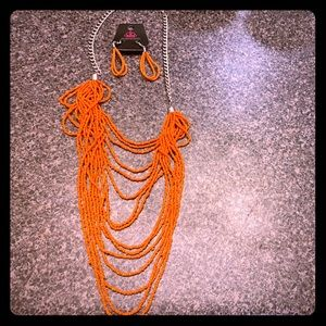 Paparazzi orange bead necklace and earring set